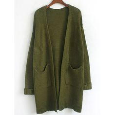 Army Green Long Sleeve Pockets Coat (155 CNY) ❤ liked on Polyvore featuring outerwear, coats, olive coat, green coat, green military coat, long coat and long sleeve coat