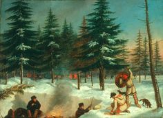 Cornelius KRIEGHOFF - A winter hunting camp (c.1858) Cornélius Krieghoff Follow the biggest painting board on Pinterest: www.pinterest.com/atelierbeauvoir