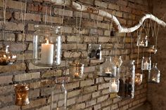 Different jars filled with candles. Cool backdrop, accent wall Different jars filled with candles. Wall Lights, Accent Wall, Backdrops, Jar, Candles, Candle Sconces, Wall, Tea Lights, Cool Backdrops