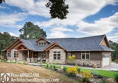 Beautiful Northwest Ranch Home Plan - 69582AM   Craftsman, Mountain, Northwest, Ranch, Photo Gallery, 1st Floor Master Suite, Butler Walk-in Pantry, CAD Available, Den-Office-Library-Study, PDF, Split Bedrooms, Corner Lot   Architectural Designs