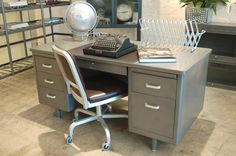 Refinished Vintage Steel Tanker Desk Ideas for Nathaniel's room :) and that beast of a desk that he loves so much :)