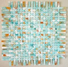 Turquoise Orange Paper Weaving Tangerine Blue Contemporary Home Decor Abstract
