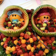 Baby shower fruit tray!! So cute.