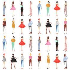 Girls Illustration by Nina Cosford Photoshop, This Is A Book, Fashion Sketches, Fashion Illustrations, Fashion Art, Vintage Fashion, Print Patterns, Pattern Design, Design Art