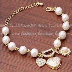 Gold Heart Charm & Pearl Bracelets - BN