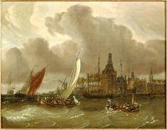 Een boeier, vol met mensen zeilt richting de haven van Hoorn. In het midden is de Hoofdtoren van de stad te zien. Al in de 17de eeuw waren boeiers in gebruik voor de pleziervaart. #collectievissen #plezier    Maker: Storck, Abraham (1644-1708)   Verv.jaar: 1650 - 1710   Object: schilderkuns