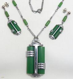 Jakob Bengel Art Deco chrome & bakelite necklace & earrings set