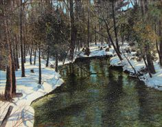 Stream in Winter - Frank Johnson, 1930 Canadian Painters, Canadian Artists, Landscape Art, Landscape Paintings, Landscapes, Group Of Seven Artists, Tom Thomson Paintings, Different Forms Of Art, Canada Images