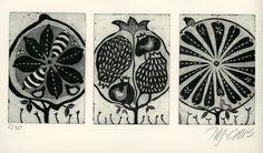 etching, pomegranate, lemon, orange, tree, stylized, black and white, seeds, flowers, printmaking, home interior, fruit trees, orchard, by mariannjohansenellis on Etsy https://www.etsy.com/au/listing/128675468/etching-pomegranate-lemon-orange-tree
