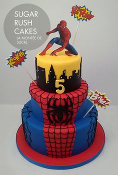 Spider Man Cake - I like the bottom two layers, take off the top layer and the action bubbles and top with a Spider Man toy.