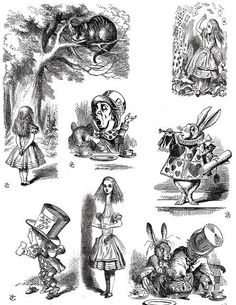 Free coloring page coloring-illustration-alice-in-wonderland. Alice in Wonderland illustration