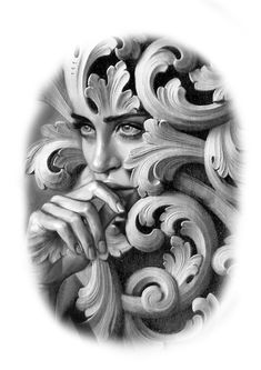 Tattoo Sleeve Designs, Sleeve Tattoos, Greek Goddess Art, Chicano Tattoos, Outlines, Female Portrait, Black And Grey Tattoos, Beautiful Black Women, Art School