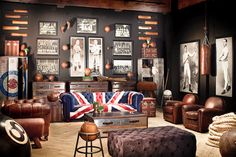 Chesterfield sofa British style Диван Честерфилд с обивкой Британский флаг
