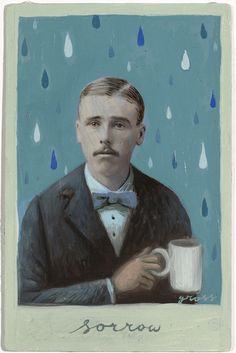 """Sorrow,"" by Alex Gross. Mixed media on antique photograph, 7 x 5 Inches."