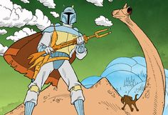 "The original Boba Fett with his disintegrator gun, the ""Amban Phase Pulse Blaster"", now carried by Dyn Jarren in The Mandalorian. (Image: The Star Wars Holiday Special) Star Wars Holiday Special, Star Wars Fan Art, Star Wars 1313, Star Wars Weihnachten, Ultimate Star Wars, Star Wars Christmas, A Day In Life, A New Hope, Arte Pop"