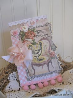 shabby chic whimsical rooster and french chair Happy birthday  banner stitched handmade card