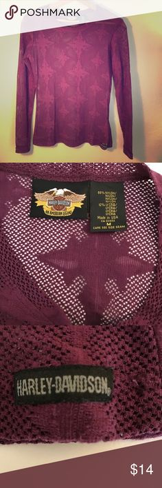 Harley-Davidson top Sheer Harley-Davidson top. Maroon fabric made of 88%nylon   12% Lycra. Hand wash (takes no time to dry!). Gently used in good condition. Harley-Davidson Tops
