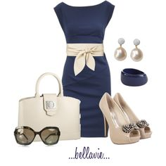 Beautiful, modest, and classic dress with accessories that really dress it up. I am a HUGE fan of navy. One of my favorite looks!