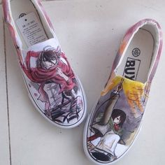 Attack on titan #Anime hand painted shoes Custom Anime Shoes