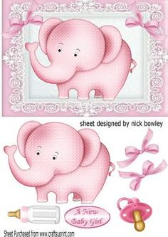 Cute pink baby Elephant with bows bottle dummy on Craftsuprint - Add To Basket!