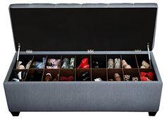 The Sole Secret Candice Ivy Diamond Tufted Shoe Storage Bench, Medium Shoe Cubby Storage, Shoe Storage Bench Entryway, Shoe Rack Bench, Upholstered Storage Bench, Bench With Storage, Bedroom Storage, Storage Benches, Shoe Storage Ottoman Diy, Shoe Storage Wardrobe