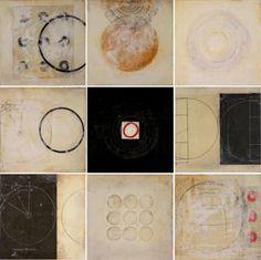 Graceann Warn - Nine Ways of Looking at a Circle 9 - 10 x 10 - mixed media encaustic