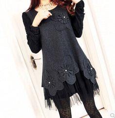 Encontrar Más Vestidos Información acerca de nuevos otoño invierno 2014 otoño más mujeres del tamaño de la marca de encaje de manga larga vestido de lana M  XXL XXXL 4XL, alta calidad Vestidos de China Clothing Co.,Ltd. en Aliexpress.com
