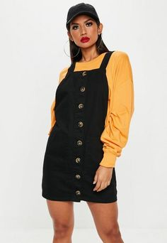 cead26b72aa Black Horn Button Through Denim Pinafore Dress Black Pinafore Dress Outfit