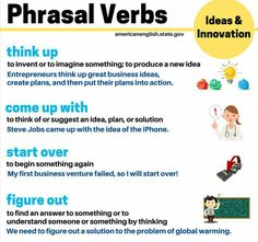 Let's think about new ideas! Today is Phrasal Verb Friday, and these phrasal verbs are related to ideas and innovation: think up, come up with, start. English Tips, English Fun, English Study, English Lessons, Learn English, American English, Bbc English, English Verbs, English Phrases