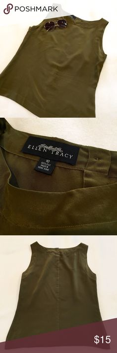 Silk Olive Green Tank Top 100% silk olive green tank top blouse with one button in back by Ellen Tracy.  Size 10.  Excellent condition! Ellen Tracy Tops Tank Tops