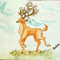 Beautiful #watercolor #animal #illustration by @noalvas_mindscape of a #deer with #cherrytree #blossum #antlers. Definitely something you don't see every day  ----- Riding the #CreativeAirship? Be sure to  the original too!