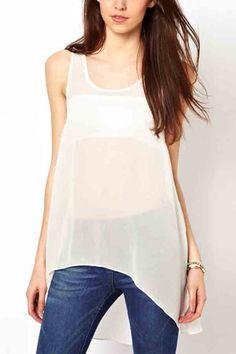 $22.99 Lace Detail Sleeveless White High Low Blouse @ MayKool.com