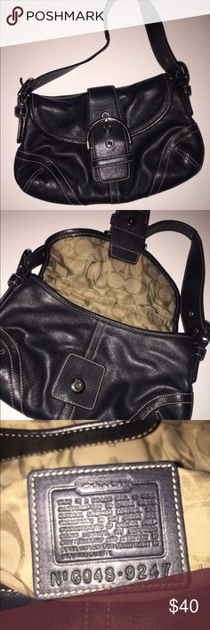 Coach Purse  This small, black leather Coach hobo-style purse is in fair condition with silver hardware and front buckle. Pre-owned. Coach Bags Hobos