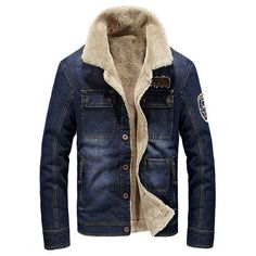 Outdoor Casual Multi Pockets Thicken Warm Denim Jackets for Mensales-NewChic Mobile.
