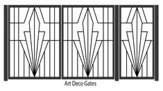 Art Deco Steel driveway and pedestrin entrance gates