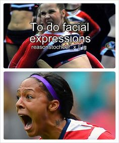 Soccer facials vs cheer... Now I just need one with basketball. Funny