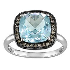 14k White Gold 4ct TGW Blue Topaz and 1/10ct TDW Brown Diamond Ring