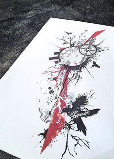 Clock compass abstract raven bird trash polka tree tattoo