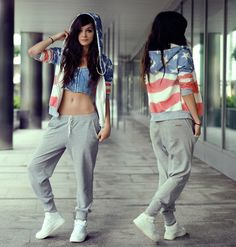 jacket romwe romwe coat flag pants shoes sweatpants sweater grey comfy pants jeans jogging hoodie american flag shirt girl shirts