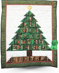 2015 Quilt Show Winners - Glendale Quilt Guild = INSPIRATION: Log Cabin Blocks. I wish I could find a close-up of this quilt to see how the blocks were created to look like Christmas Tree with Ornaments.