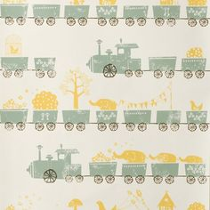 Ferm Living Tiny Train Nursery Wallpaer - full range online at nubie