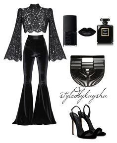 """BLACK X BLACK"" by styledbykaysha on Polyvore featuring Rasario, Faith Connexion, Giuseppe Zanotti, Cult Gaia, Chanel and NARS Cosmetics"