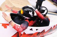 Kaillie Humphries and Heather Moyse (L) of Canada team 1 celebrate after winning the gold medal during the Women's Bobsleigh (c) Getty Images Kaillie Humphries, Bobsleigh, Olympics, Canada, Culture, Celebrities, Sports, Gold, Sport
