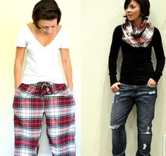 flannel bottoms to cozy infinity scarf!!!