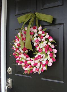 Spring Mother's Day Wreath Spring Wreath Tulip Wreath Gift for Mom Wreath for Spring Custom Size 20 inch Tulip Spring Wreath with Ribbon Spring Wreath 18 inch Summer Wreath by ElegantWreath Welcome to Elegant Holidays- The original designer of the Tulip W Wreath Hanger, Diy Wreath, Boxwood Wreath, Door Wreaths, Tulip Wreath, Floral Wreaths, Mothers Day Wreath, Marianne, Burlap Ribbon