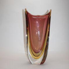 Murano Glass Vase Ruby/Tobacco/Amber