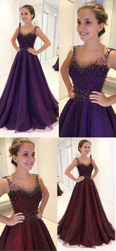 Purple Prom Dresses,Beading Prom Dress,A Line Prom Gown,Long Evening Dresses,Tulle Evening Gown on Storenvy Long Prom Gowns, Homecoming Dresses, Bridesmaid Dresses, Prom Long, Pretty Dresses, Beautiful Dresses, Beaded Prom Dress, Dress Prom, Dress Wedding