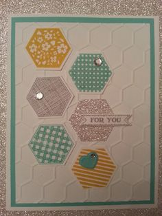 Six sided sampler stamp set and hexagon punch from.Stampin up. Love this.