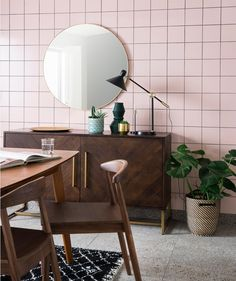 Matrix® Azalea Pink ceramic wall tile, perfect for adding a retro flair to a living space. Use a dark grout to create a graphic feel. Shop pink tiles now! Pink Tiles, Grey Tiles, Interior Design Kitchen, Bathroom Interior, Tile Care, Black Grout, Topps Tiles, Black Interior Doors, Ceramic Wall Tiles