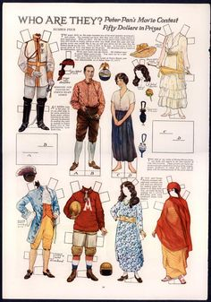 """Uncut 4 """"Who Are They """" The Delineator Paper Dolls 1752 